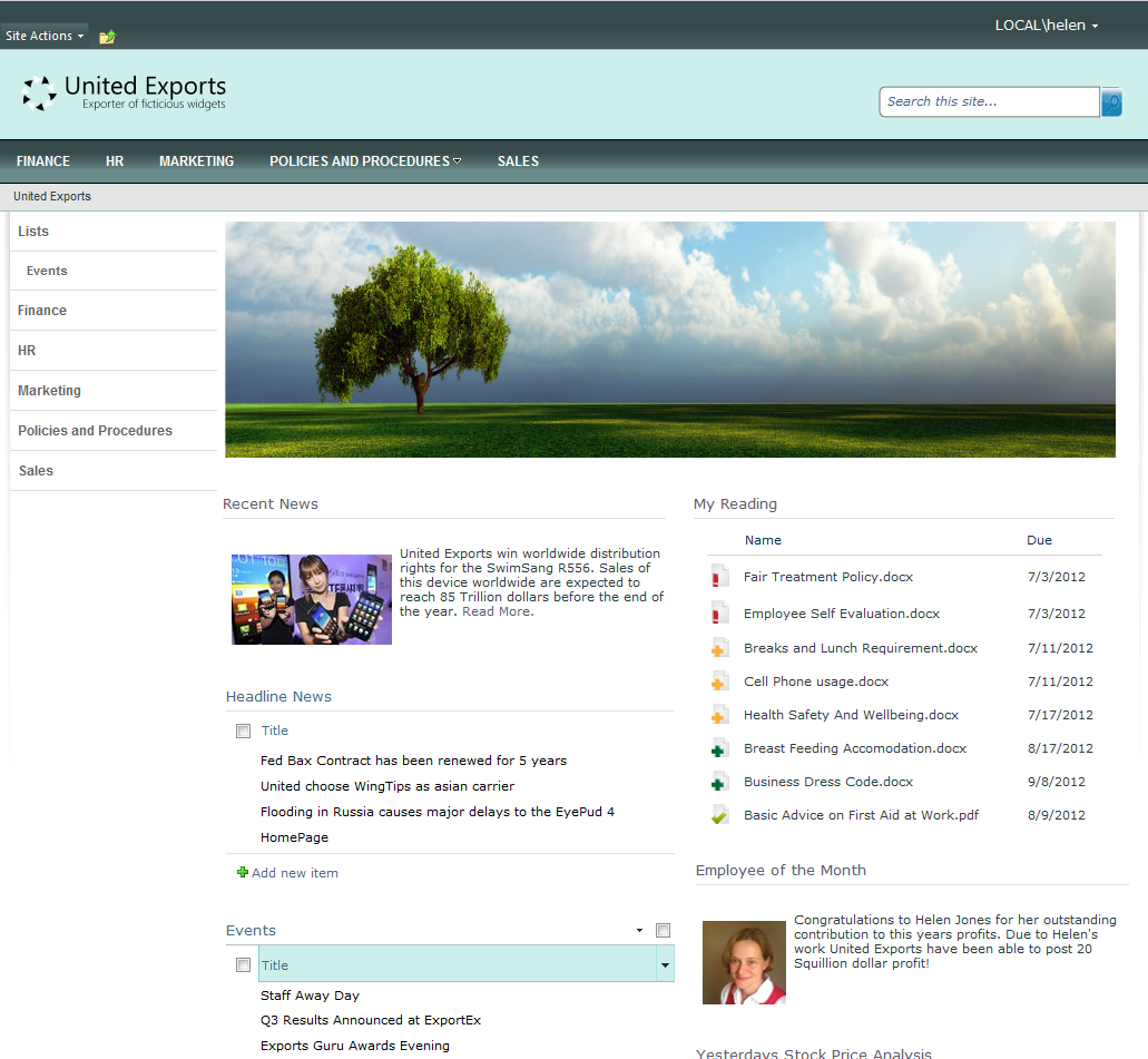 DocRead In A Real World Intranet Screenshots From This
